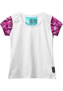 Camiseta Baby Look Feminina Algodão Estampa Militar Estilo - Feminino-Rosa+Branco