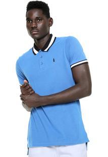 Camisa Polo Coke Star Listra Azul