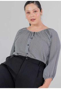 Blusa Almaria Plus Size Miss Taylor Estampada Bran