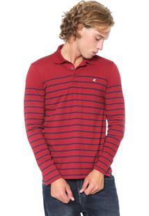 Camisa Polo Malwee Reta Listrada Vermelha/Azul-Marinho