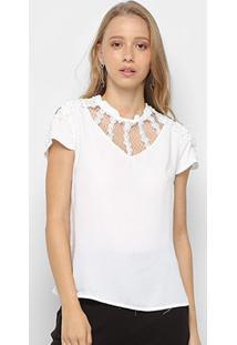Blusa Lemise Open Shoulder Pérolas Feminina - Feminino-Branco