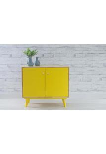 Armário 2 Portas Com Prateleira Puxador Bolinha Celeste - Natural E Amarelo 90X40X79,5 Cm