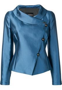 Emporio Armani Blazer Com Abotoamento Lateral - Azul
