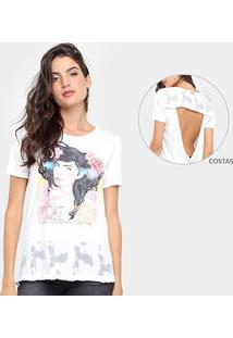 Camiseta Coca-Cola Barra Devorê Recorte Costas Feminina - Feminino-Branco