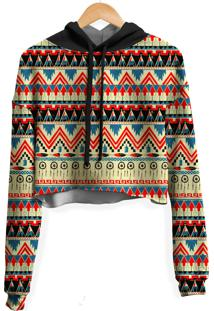 Blusa Cropped Moletom Feminina Tribal Africana Md01 - Tricae