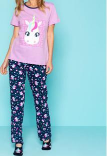 Pijama Unicórnio- Lilás & Azul Marinhopuket
