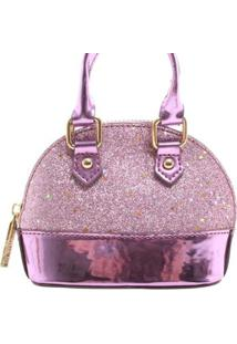 Mini Bolsa Birô Glitter Feminina - Feminino-Lilás
