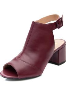 Ankle Boot Pattini Em Couro Bordô