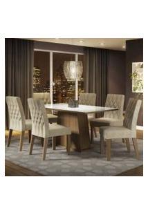 Conjunto Sala De Jantar Madesa Rafaela Mesa Tampo De Vidro Com 6 Cadeiras Rustic/Branco/Imperial