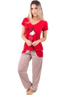 Pijama Feminino Longo Alice - Feminino-Vermelho