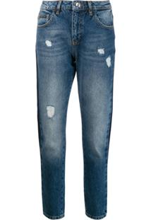 Philipp Plein Calça Jeans Boyfriend Com Lista Lateral - Azul