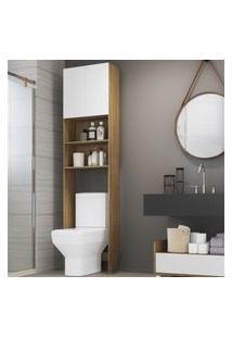 Armário De Banheiro Para Vaso Sanitário Com 2 Portas Multimóveis Rustic/Branco