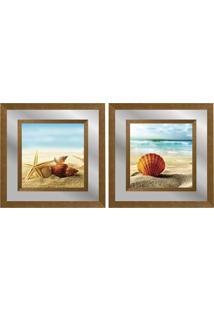 Quadro Decorativo Duplo Com Paspatur Em Espelho Paisagem Praia 50X50 - Art Frame