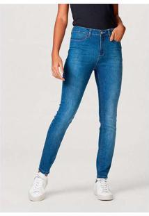 Calça Jeans Feminina Skinny Com Elastano Azul