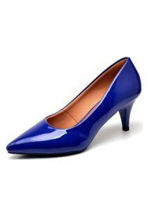 Scarpin Casual Ellas Online Salto Baixo Azul