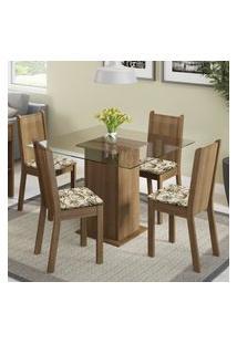 Conjunto Sala De Jantar Madesa Magda Mesa Tampo De Vidro Com 4 Cadeiras Marrom
