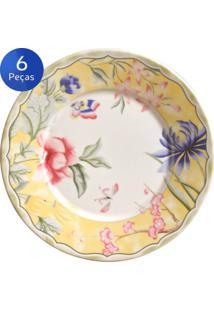 Conjunto Pratos Sobremesa Florença 6 Peças - Porto Brasil - Multicolorido