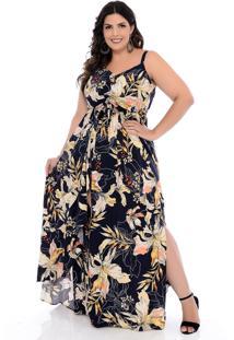 Vestido Plus Size Join Curves Longo Floral Marinho Com Babados