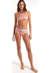 Calcinha Rosa Chá Kate Waves Beachwear Estampado Feminina (Estampa Waves, Pp)