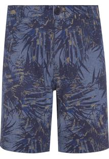 Bermuda Masculina Color Chino Chambray Estampado - Azul