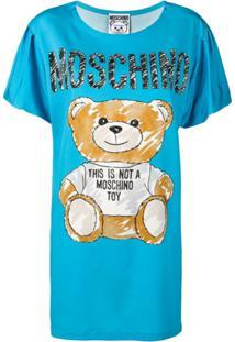 Moschino Vestido Com Estampa Teddy Bear - Azul