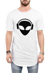 Camiseta Criativa Urbana Long Line Oversized Et Alien - Masculino-Branco
