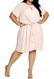 Vestido Youtwo Midi Plus Size - Feminino-Rosa