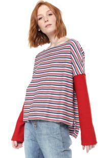 Blusa Cavalera Listrada Vermelha/Azul