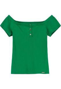 Blusa Verde Ciganinha Canelada