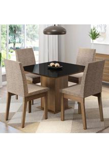 Conjunto Sala De Jantar Madesa Gaia Mesa Tampo De Vidro Com 4 Cadeiras