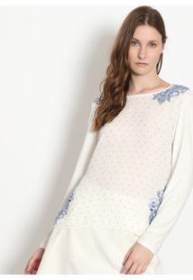 Blusa Arabescos - Branca & Azul Marinho - Malweemalwee
