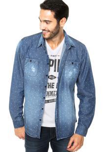 Camisa Jeans Sommer Straight Basic Geo Azul