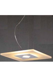Pendente De Led De Vidro Quadrado 18W Bella Iluminação Branco