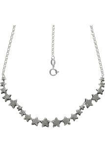 Gargantilha Prata Mil Envelhecida Com 20 Estrelas Estampadas Reticuladas Prata - Prata - Feminino - Dafiti