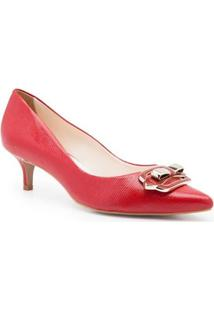 Scarpin Isorella Salto Baixo Precious Berry - Feminino-Vermelho