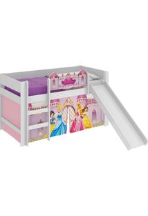 Cama C/Escor Princesas Disney Play Branco-Acetinado Pura Magia