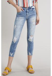 Calça Jeans Feminina Cropped Destroyed Azul Médio