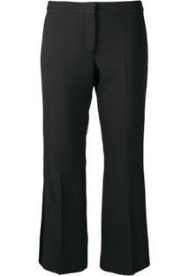 Alexander Mcqueen Cropped Tuxedo Trousers - Preto