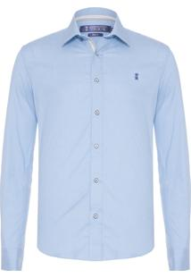 Camisa Masculina Chambray Stretch - Azul
