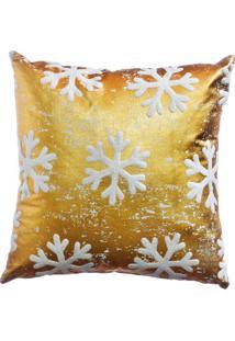 Capa Para Almofada Flocos De Neve- Dourada & Branco-Cromus