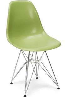 Cadeira Charles Eames Eiffel Sem Braços - Base Metal Cromado - Assento Em Polipropileno Cor Laranja