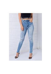 Calça Skinny Pkd Com Botões Encapados Destroyed Jeans Claro