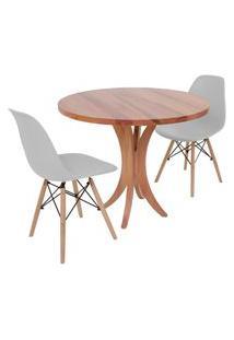 Conjunto Mesa De Jantar Tampo De Madeira 90Cm Com 2 Cadeiras Eiffel - Cinza