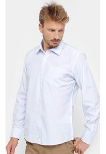 Camisa Social Blue Bay Manga Longa Bolso Masculina - Masculino