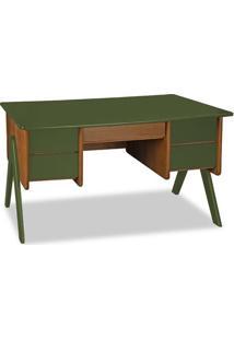 Escrivaninha Vintage Nogal E Verde Musgo