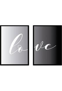 Conjunto De Quadros Decorativos Love I Cinza E Preto (45X32)