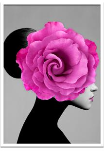Quadro 60X90Cm Mary Mulher Com Flor Rosa Nórdico Moldura Branca Sem Vidro