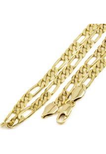 Corrente Folheada A Ouro 18K Tudo Jóias Modelo Elo 3X1 Com 6Mm De Largura - Masculino-Dourado