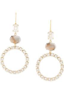 Isabel Marant Crystal Embellished Drop Earrings - Dourado