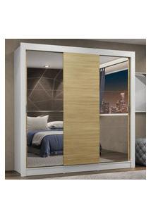 Guarda-Roupa Casal Madesa Lyon Plus 3 Portas De Correr Com Espelhos 4 Gavetas - Branco/Carvalho Marrom